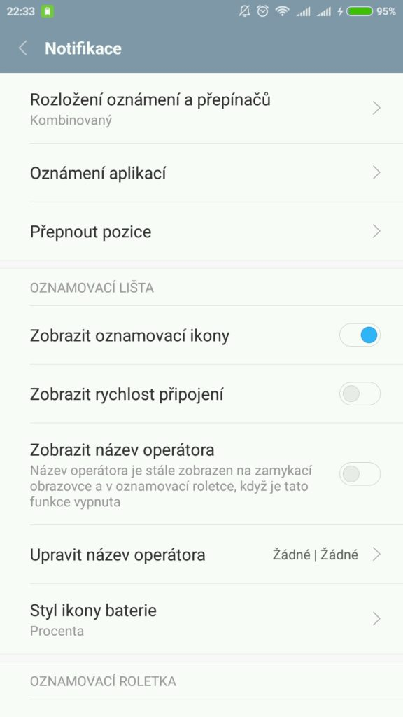 Notifikace Xiaomi Redmi