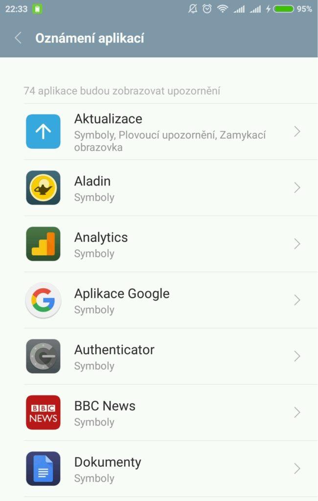 Nastavení notifikací pro jednotlivé aplikace