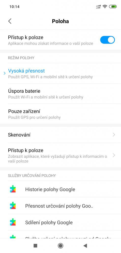 Nastaveni polohy v telefonech Xiaomi