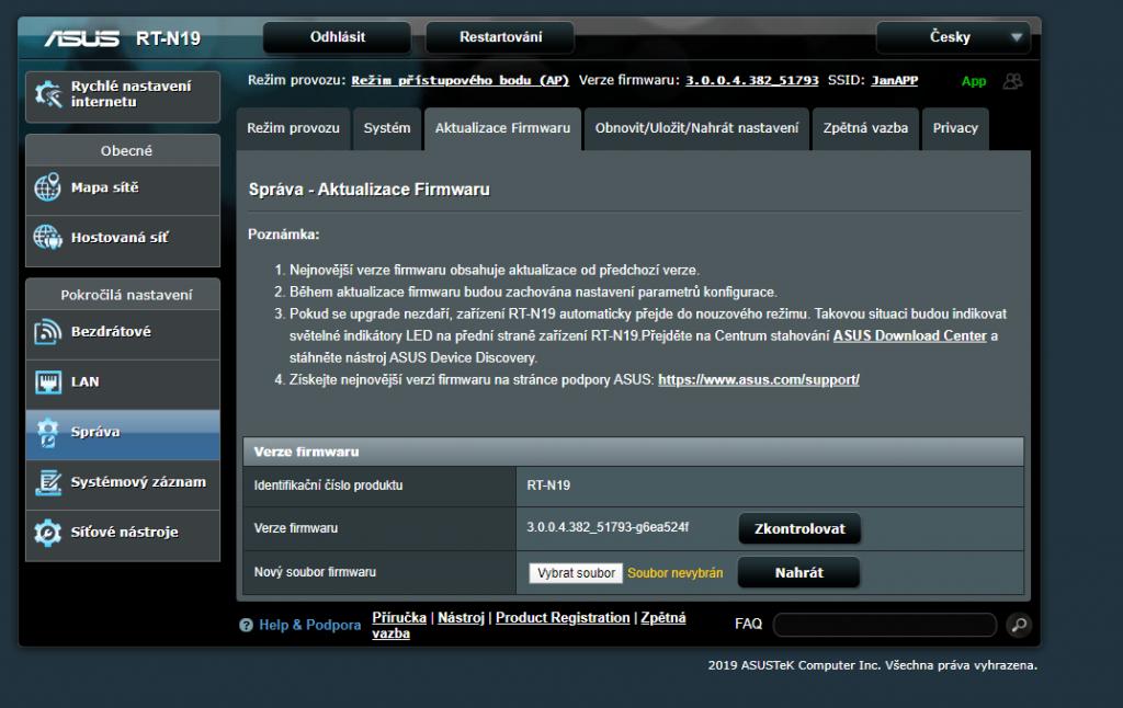 Aktualizace firmware routeru ASUS RT-N19