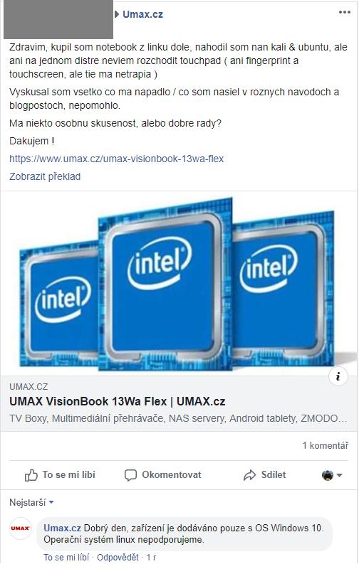 Informace o podpoře linuxu na zařízeních Umax