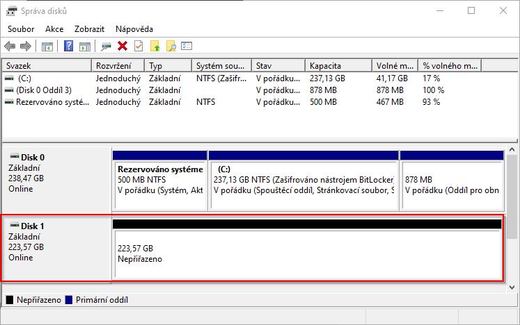 Správa disků po prvním připojení disku