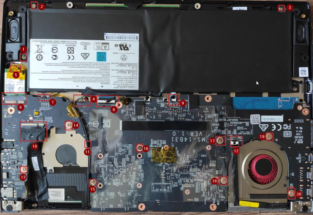 Postup na rozebrání základní desky MSI Modern 14