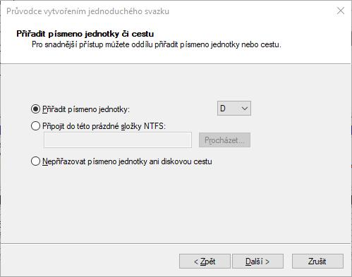 Přiřadit písmeno jednotky novému disku