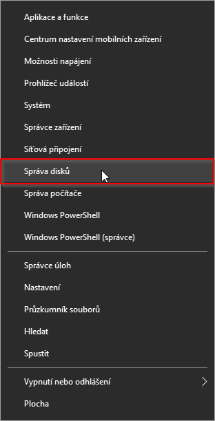 Správa disků ve Windows 10